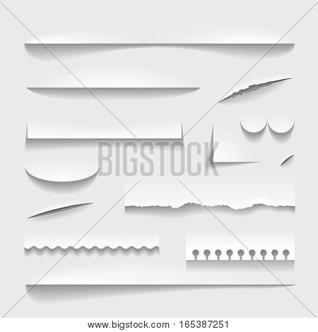 Transparent realistic paper shadow effect set. Perforated ripped torn jagged cut edges vector illustration