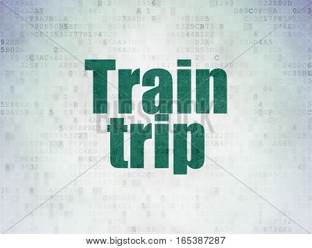 Travel concept: Painted green word Train Trip on Digital Data Paper background