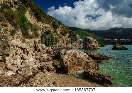 Rocky coast of Greece Parga Ionian sea