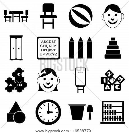 Kindergarten icons set. Simple illustration of 16 kindergarten vector icons for web