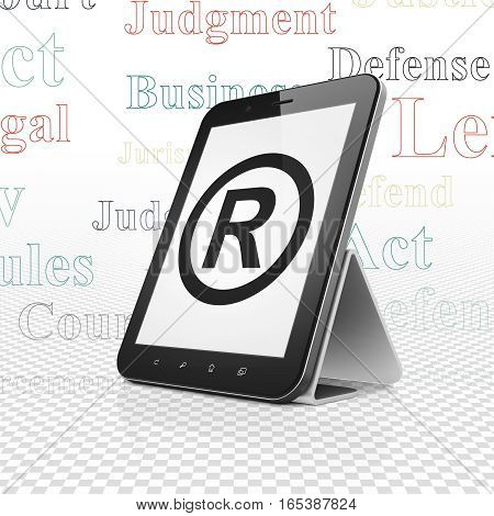 Law concept: Tablet Computer with  black Registered icon on display,  Tag Cloud background, 3D rendering