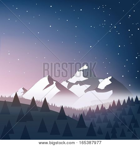 winter landscape with snow, mountains, sky, stars, trees. vector illustration on the theme of winter mountains in flat style. silhouettes of snowy mountain peaks on the horizon.