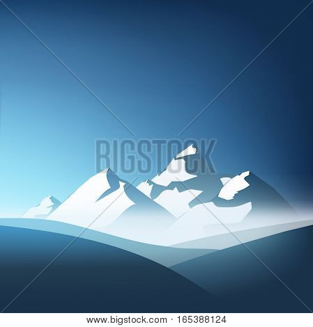 mountains theme illustration. beautiful mountain landscape with blue sky background. Vector illustration. flat design. mountains peaks, mountain range backdrop.