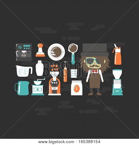 set of barista tool icon, flat style