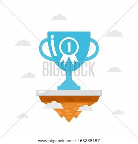 trophy on island the number one is very high business concept