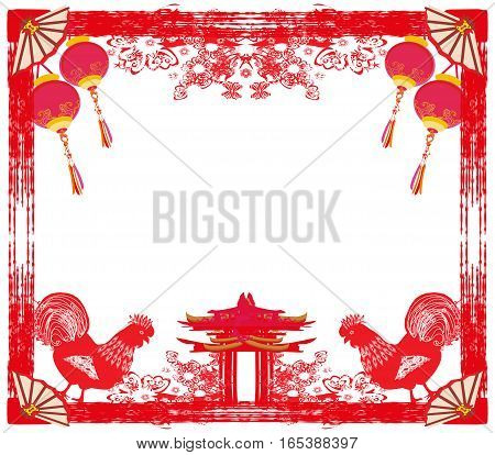 Year of rooster - New Year card , vector illustration