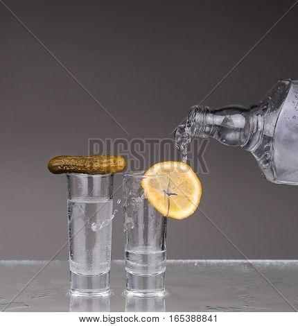 Vodka Poured Into A Glass