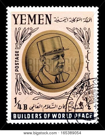 YEMEN - CIRCA 1966 : Cancelled postage stamp printed by Yemen, that shows  Charles de Gaulle.