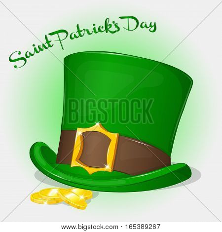 Green Saint Patrick's Day hat with coins. Background for St. Patrick's day in simple cartoon style. Vector illustration. Holiday Collection.