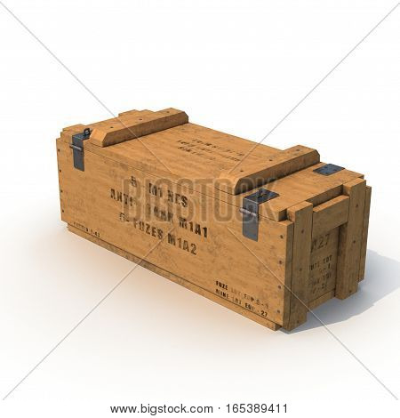 Old wooden ammo case on white background. 3D illustration