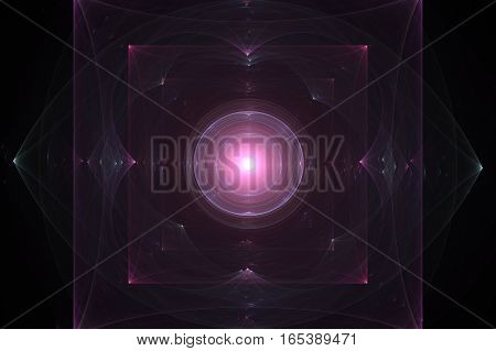 abstract image of two transparent squares purple color with bright corners in one another and emerald ellipse in the background in the center of the circle bright shades of pink on a black background.