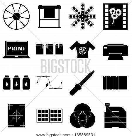 Print items icons set. Simple illustration of 16 print items vector icons for web