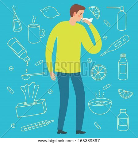 Man with a snuffle. Cold and flu symptom. Including doodle treatment elements on background such as pills syrups food. Hand drawn health-care illustration for your design.