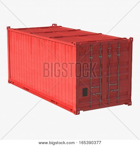 Red collapsible shipping container isolated on white background. 3D illustration
