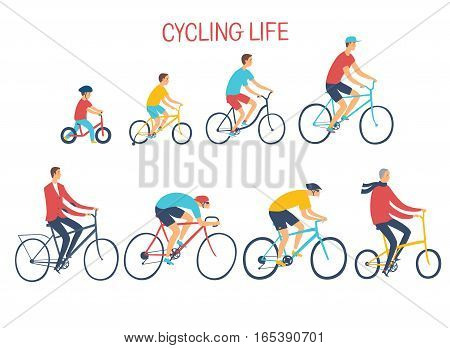 People of different age and style riding a bicycle. Growing up with cycle. Healthy lifestyle illustration. Editable vector format.