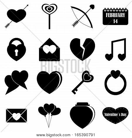 Saint Valentine items tools set. Simple illustration of 16 Saint Valentine items vector icons for web