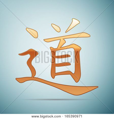 Gold chinese calligraphy, translation meaning Dao, Tao, Taoism icon on blue background . Vector Illustration