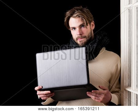 Handsome Bearded Guy With Laptop