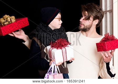 Boy Nerd And Man With Presents