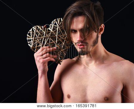 Bearded Macho Man Holding Valentine