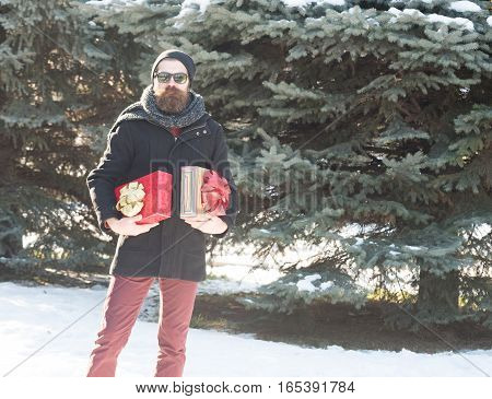 Bearded Man With Gift Boxes