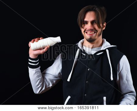 Smiling Guy In Baseball Jacket