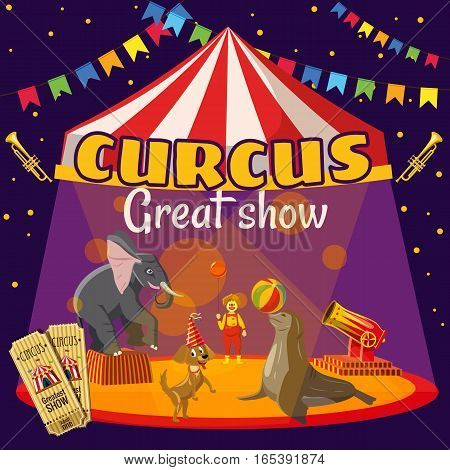 Circus show tent concept. Cartoon illustration of circus show tent vector concept for web