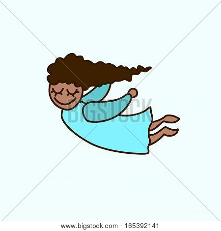 Vector flying cartoon african american girl. Greeting invitation card for saint Valentine day wedding day