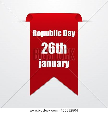 Red label with the date of Republic Day India. Vector illustration