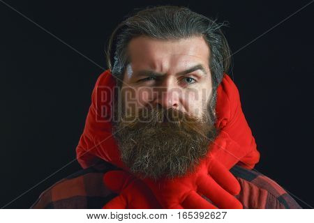 Bearded Man With Red Decorated Hands