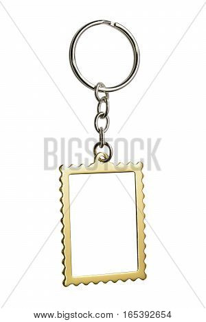 Gold key chain with space for text isolated on white with clipping path