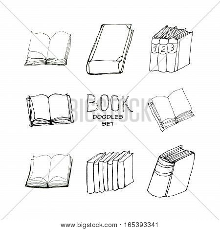 Book doodles collection. Hand drawn black and white set. Eight elements. Reading and education concept.