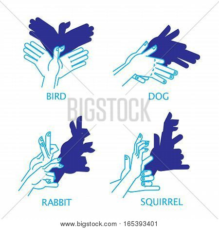 Vector Illustration of Shadow Hand Puppets Isolated on a White Background for Your Design. Shadow Theatre or Shadow Play. Bird, Dog, Rabbit, Squirrel.