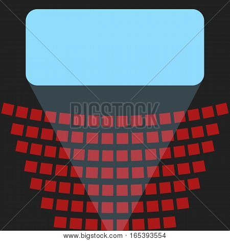Blue screen in a movie theater and rows of red seats