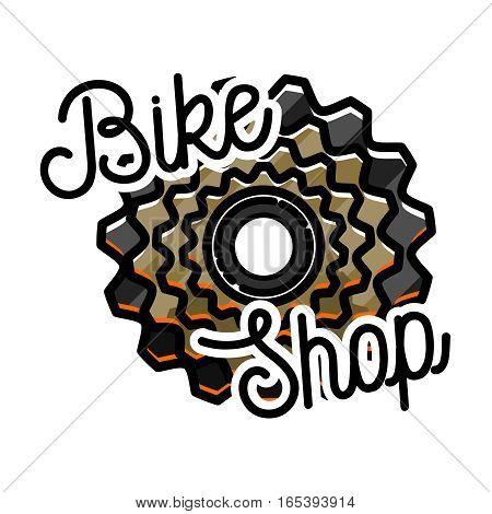 Color vintage bike shop emblem, label, badge and design elements. Old style bicycle shop and repair logotypes