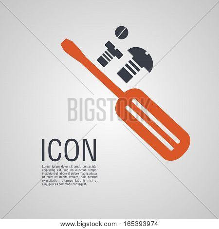 Vector Icons In The Form Of Screwdriver With Nuts And Bolts.