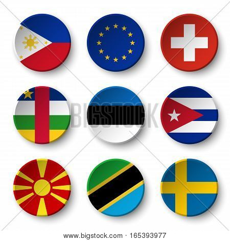 Set of world flags round badges ( Philippines . European union (EU) . Switzerland . Central African Republic . Estonia . cuba . Macedonia . Tanzania . Sweden )