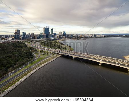 Overlooking Perth City across the Narrows Bridge and Swan River, Western Australia, Australia.