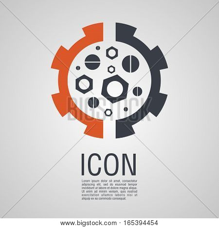 Vector Icons In The Form Of Nuts And Bolts  Gear Wheel.