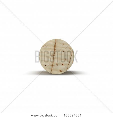 Wine Cork on white background. Front view. 3D illustration