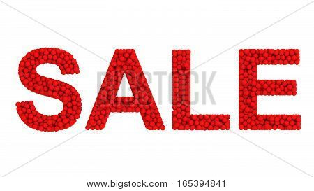 SALE Sign from Red Balls Isolated 3D Rendering
