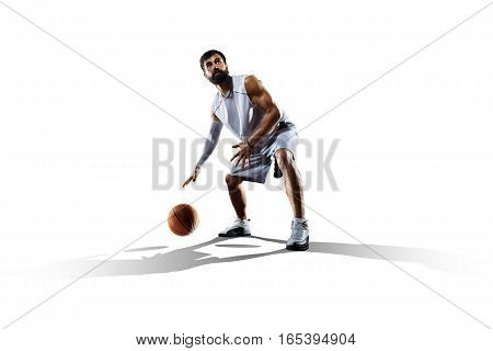 Sreetball player isolated on the white background