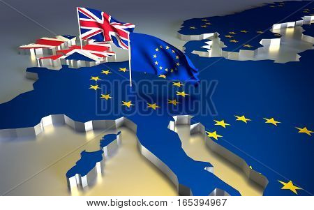 Map of europe with the national flag. Brexit referendum UK - United Kingdom Great Britain or England leaving EU - European Union British vote to exit. 3D illustration