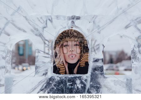 Winter Portrait Of A Beautiful Young Woman.