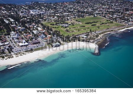 An aerial photograph of Cottesloe Beach and the Indiana Tea House. Perth, Western Australia, Australia.