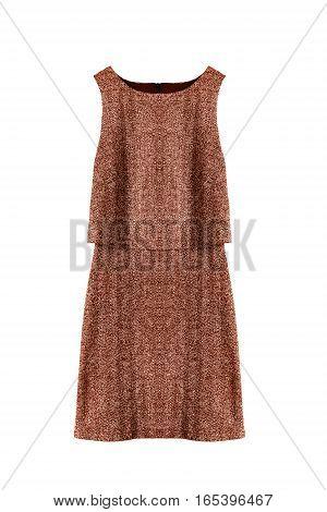 Elegant brown sleeveless dress on white background