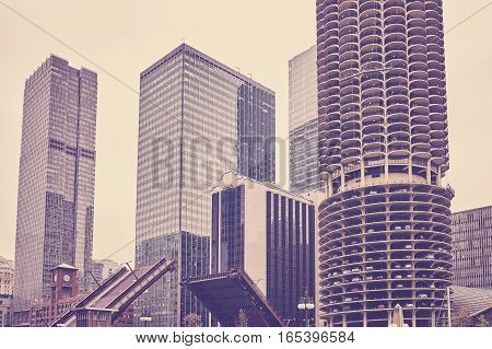 Vintage Toned Chicago Downtown On A Cloudy Day.