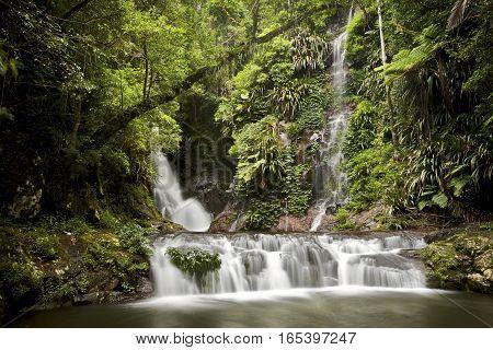 The lush green Elabana Falls in Lamington National Park, Gold Coast, Queensland, Australia.
