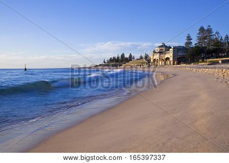 The iconic Indiana Tea House on Cottesloe Beach late on a summer afternoon. Perth, Western Australia, Australia.