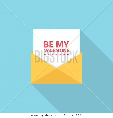 Be my Valentine letter, email or message. Flat style vector Illustration.